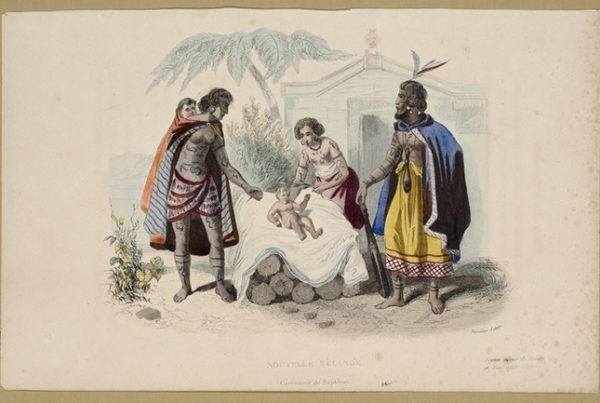 Maori Baptism Ceremony by Louis Auguste de Sainson